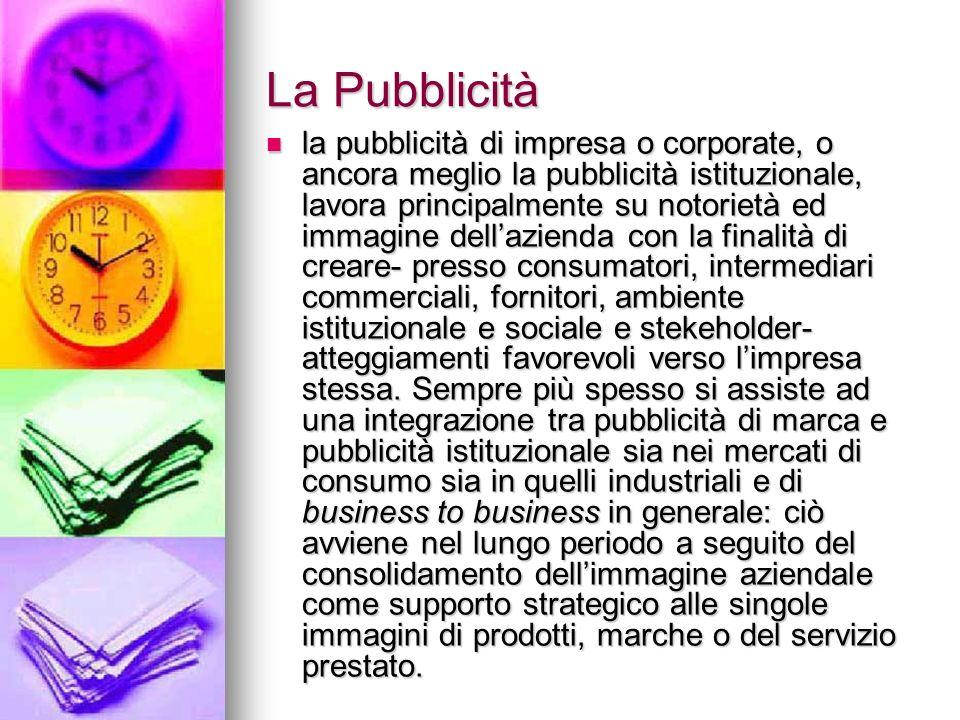 La Pubblicità la pubblicità di impresa o corporate, o ancora meglio la pubblicità istituzionale, lavora principalmente su notorietà ed immagine dellaz