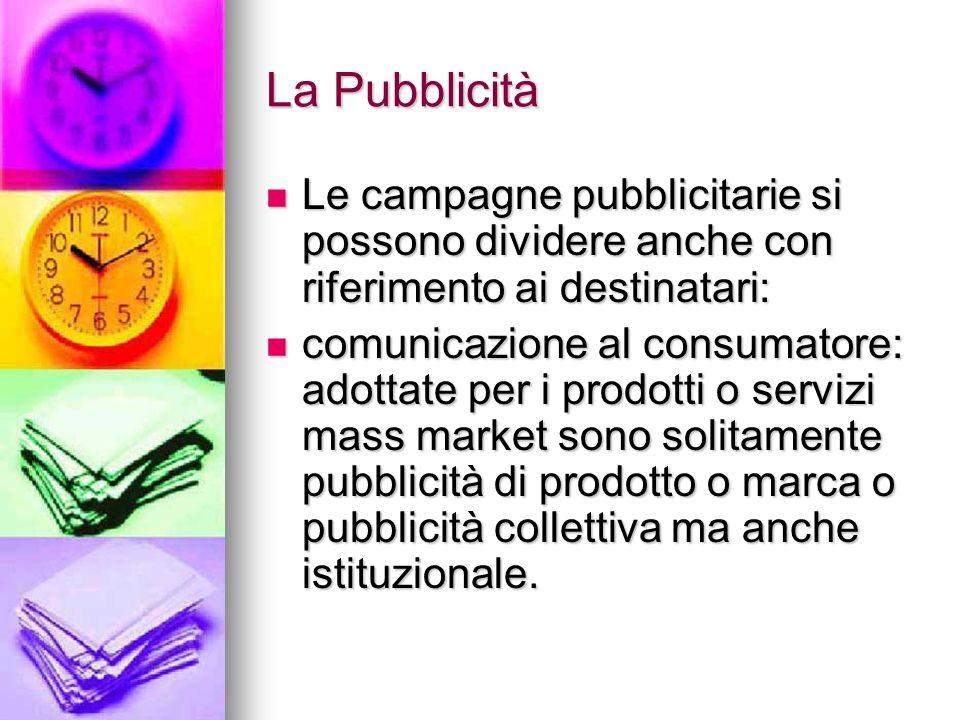La Pubblicità Le campagne pubblicitarie si possono dividere anche con riferimento ai destinatari: Le campagne pubblicitarie si possono dividere anche