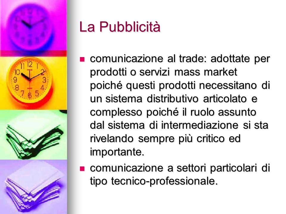 La Pubblicità comunicazione al trade: adottate per prodotti o servizi mass market poiché questi prodotti necessitano di un sistema distributivo artico