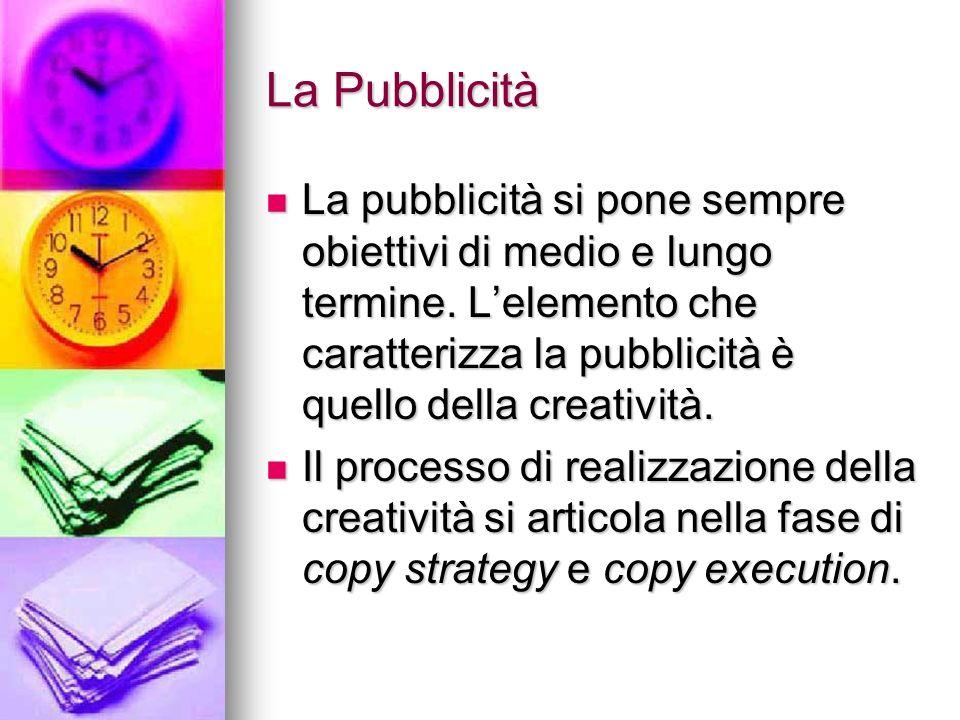 La Pubblicità La pubblicità si pone sempre obiettivi di medio e lungo termine. Lelemento che caratterizza la pubblicità è quello della creatività. La