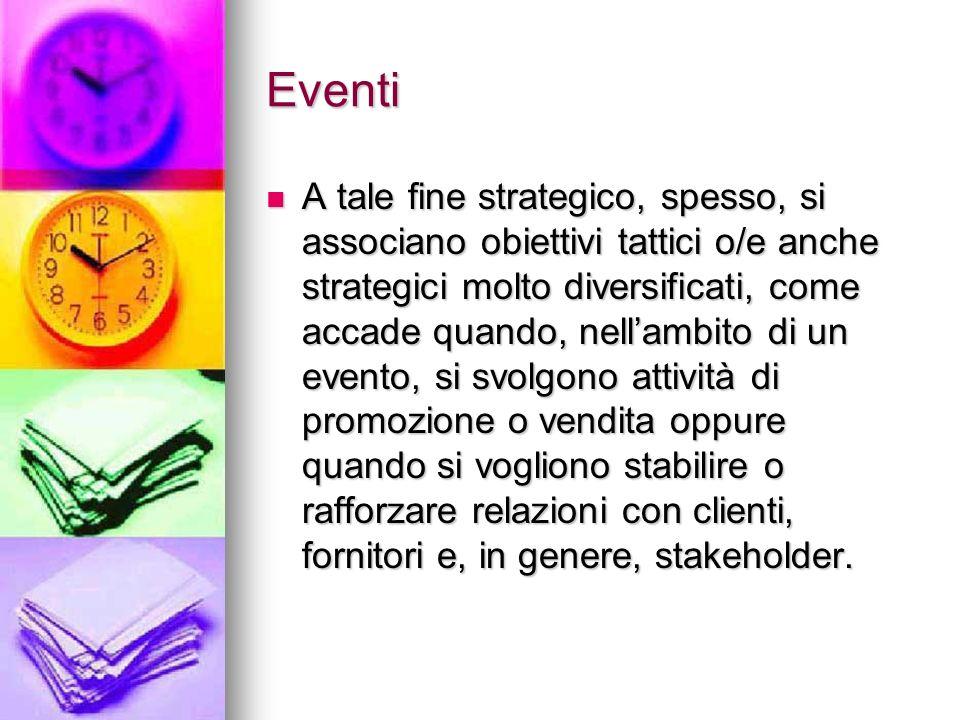 Eventi A tale fine strategico, spesso, si associano obiettivi tattici o/e anche strategici molto diversificati, come accade quando, nellambito di un e