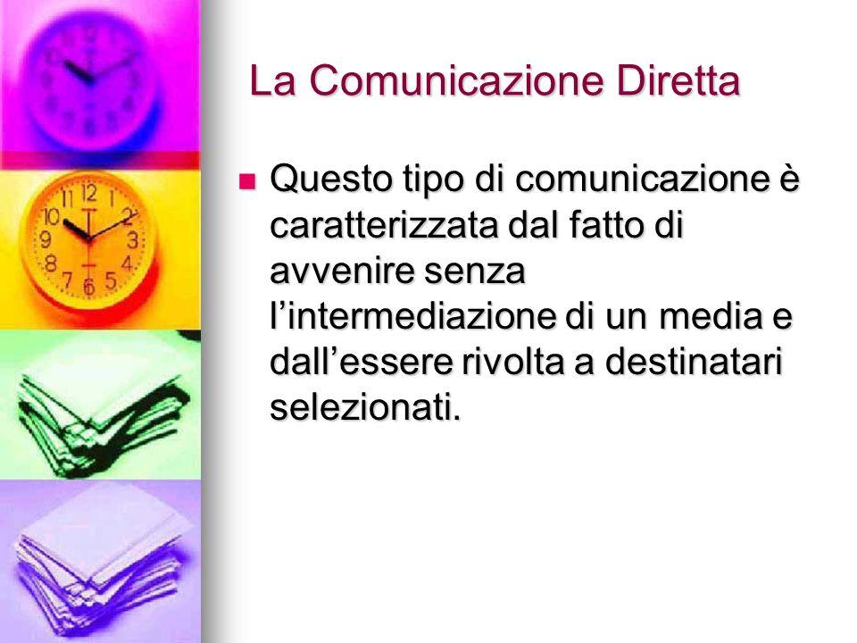 La Comunicazione Diretta La Comunicazione Diretta Questo tipo di comunicazione è caratterizzata dal fatto di avvenire senza lintermediazione di un med