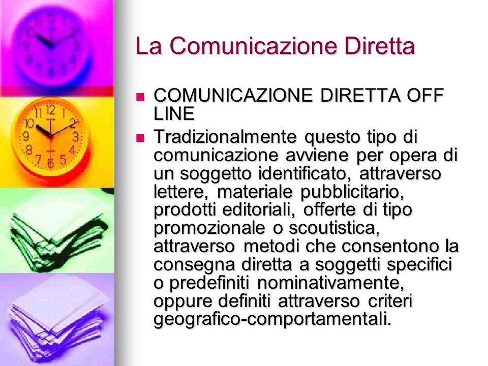 La Comunicazione Diretta COMUNICAZIONE DIRETTA OFF LINE COMUNICAZIONE DIRETTA OFF LINE Tradizionalmente questo tipo di comunicazione avviene per opera