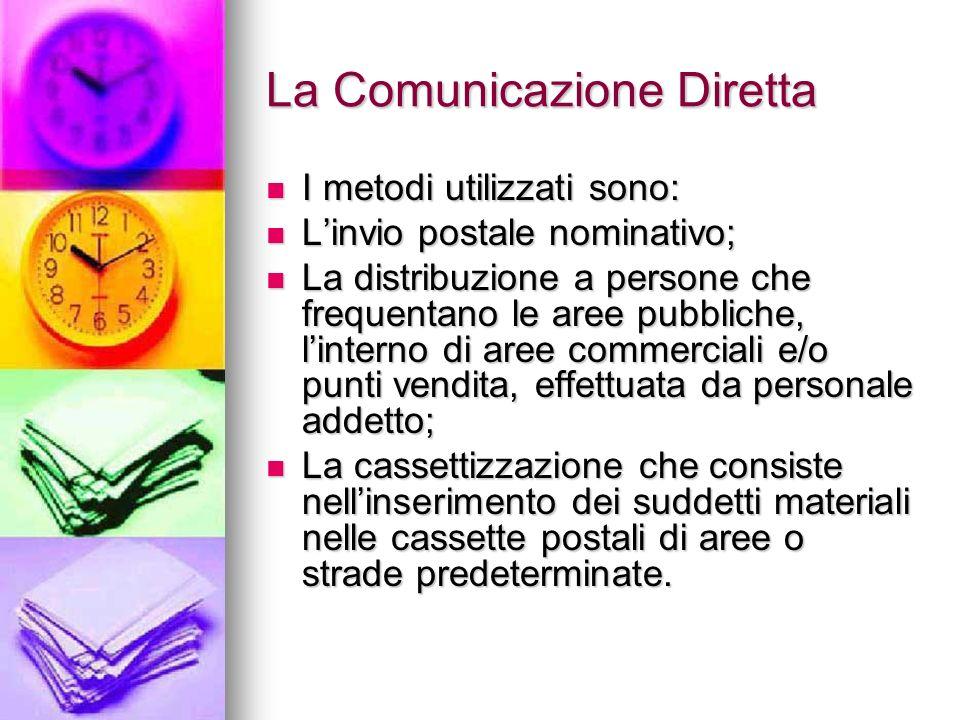 La Comunicazione Diretta I metodi utilizzati sono: I metodi utilizzati sono: Linvio postale nominativo; Linvio postale nominativo; La distribuzione a