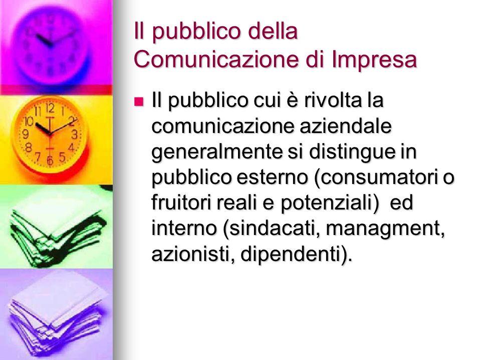 Il pubblico della Comunicazione di Impresa Il pubblico cui è rivolta la comunicazione aziendale generalmente si distingue in pubblico esterno (consuma