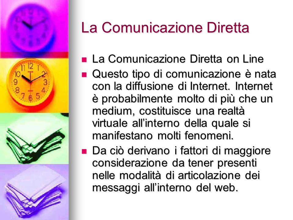 La Comunicazione Diretta La Comunicazione Diretta on Line La Comunicazione Diretta on Line Questo tipo di comunicazione è nata con la diffusione di In