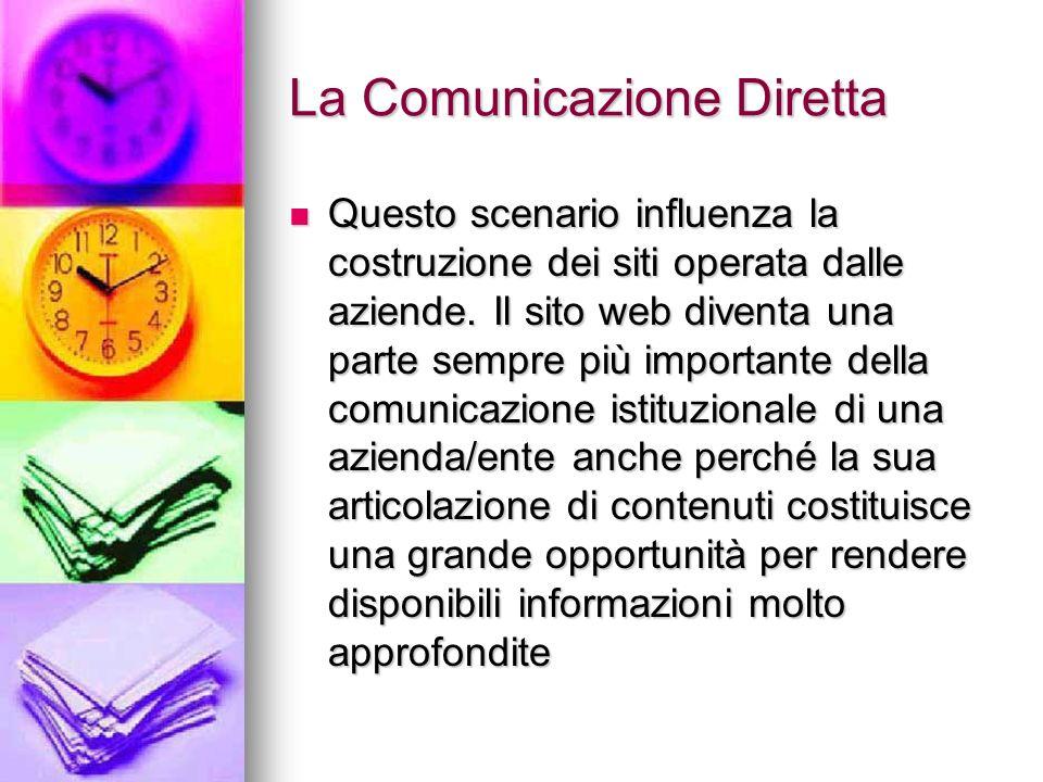 La Comunicazione Diretta Questo scenario influenza la costruzione dei siti operata dalle aziende. Il sito web diventa una parte sempre più importante