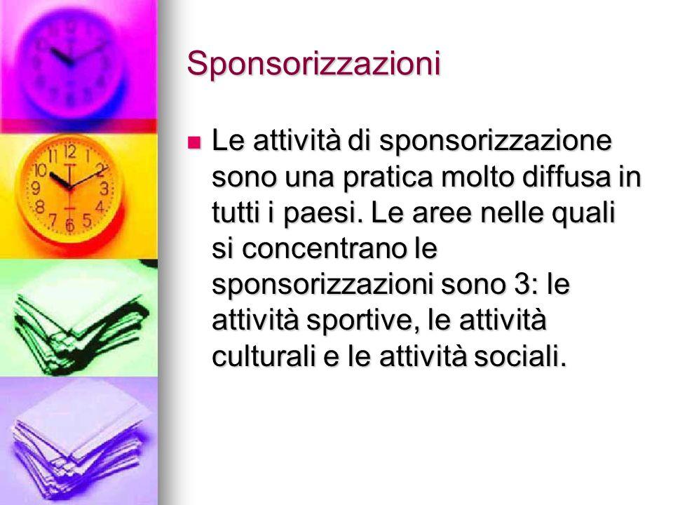 Sponsorizzazioni Le attività di sponsorizzazione sono una pratica molto diffusa in tutti i paesi. Le aree nelle quali si concentrano le sponsorizzazio