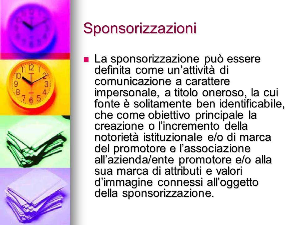 Sponsorizzazioni La sponsorizzazione può essere definita come unattività di comunicazione a carattere impersonale, a titolo oneroso, la cui fonte è so