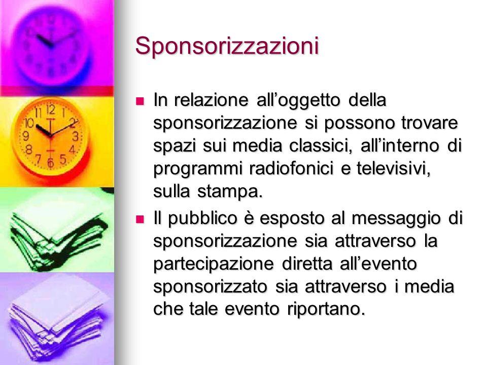 Sponsorizzazioni In relazione alloggetto della sponsorizzazione si possono trovare spazi sui media classici, allinterno di programmi radiofonici e tel