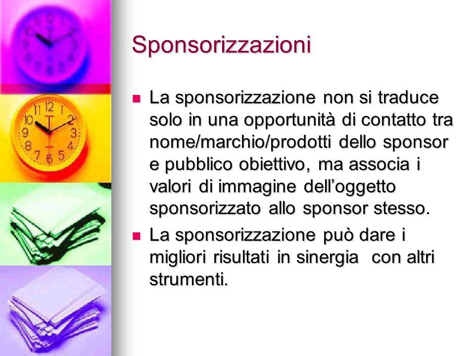 Sponsorizzazioni La sponsorizzazione non si traduce solo in una opportunità di contatto tra nome/marchio/prodotti dello sponsor e pubblico obiettivo,