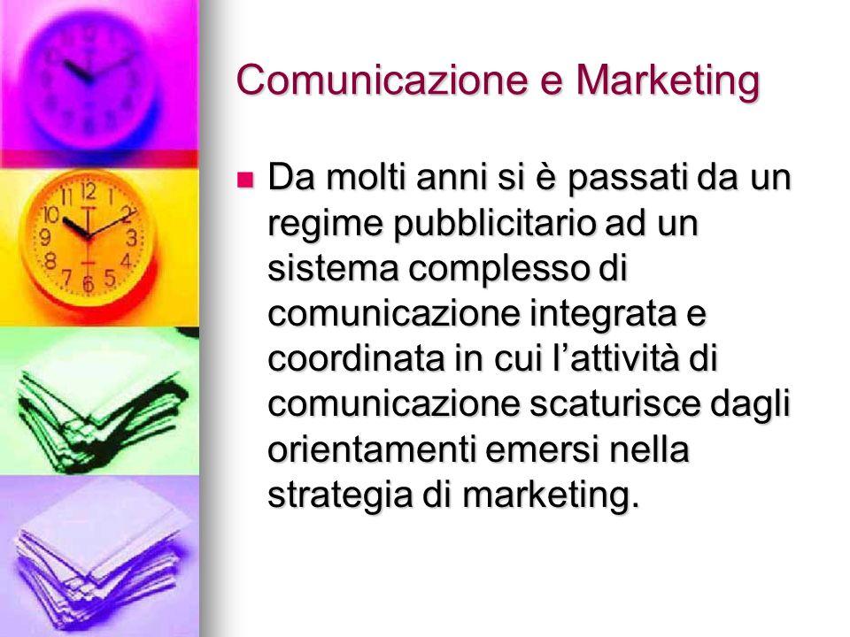 Comunicazione e Marketing Da molti anni si è passati da un regime pubblicitario ad un sistema complesso di comunicazione integrata e coordinata in cui