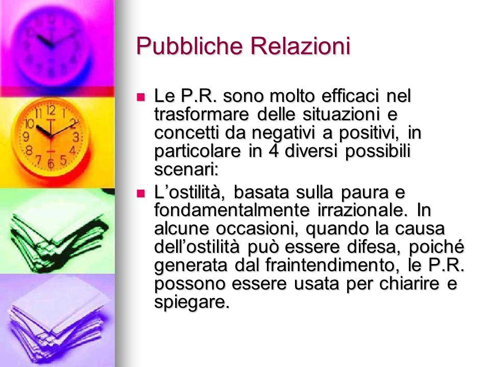 Pubbliche Relazioni Le P.R. sono molto efficaci nel trasformare delle situazioni e concetti da negativi a positivi, in particolare in 4 diversi possib