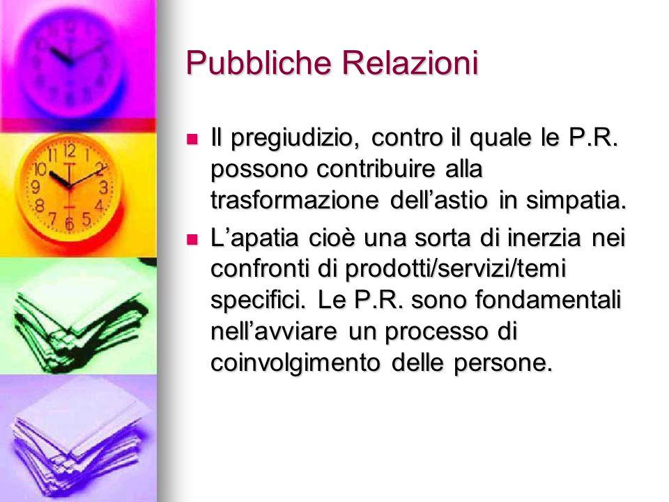 Pubbliche Relazioni Il pregiudizio, contro il quale le P.R. possono contribuire alla trasformazione dellastio in simpatia. Il pregiudizio, contro il q