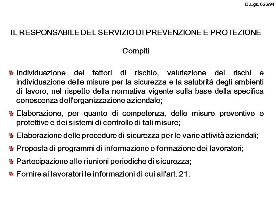 IL RESPONSABILE DEL SERVIZIO DI PREVENZIONE E PROTEZIONE Compiti Individuazione dei fattori di rischio, valutazione dei rischi e individuazione delle