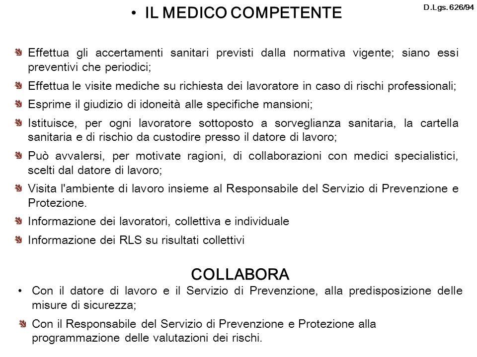 IL MEDICO COMPETENTE Effettua gli accertamenti sanitari previsti dalla normativa vigente; siano essi preventivi che periodici; Effettua le visite medi