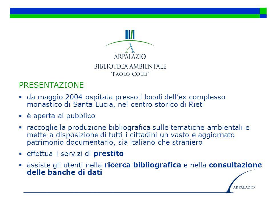 PRESENTAZIONE da maggio 2004 ospitata presso i locali dellex complesso monastico di Santa Lucia, nel centro storico di Rieti è aperta al pubblico racc