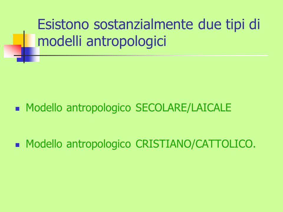 Esistono sostanzialmente due tipi di modelli antropologici Modello antropologico SECOLARE/LAICALE Modello antropologico CRISTIANO/CATTOLICO.