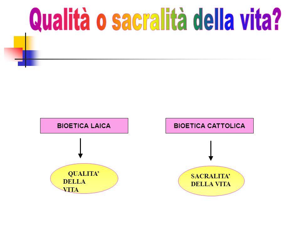 SACRALITA DELLA VITA BIOETICA CATTOLICA QUALITA DELLA VITA BIOETICA LAICA