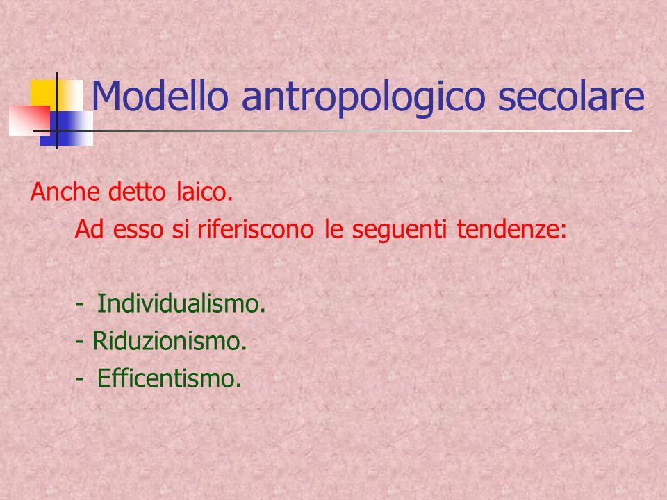 Modello antropologico secolare Anche detto laico.
