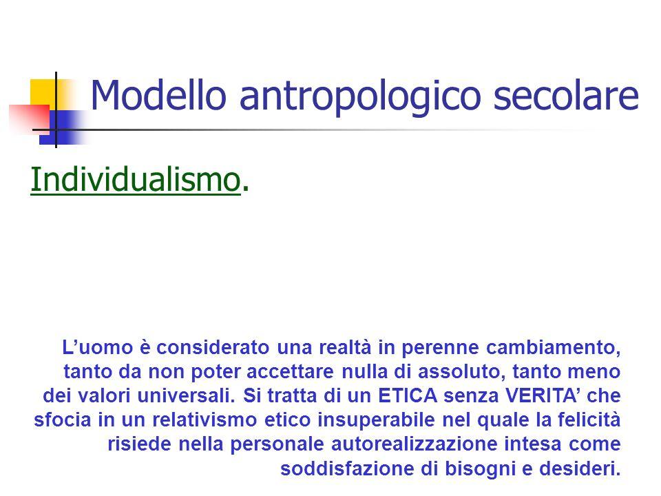 Modello antropologico secolare Individualismo.