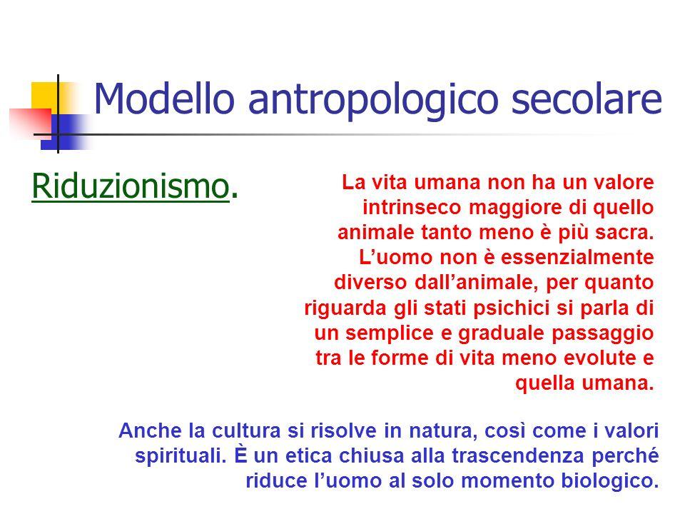 Modello antropologico secolare Riduzionismo.