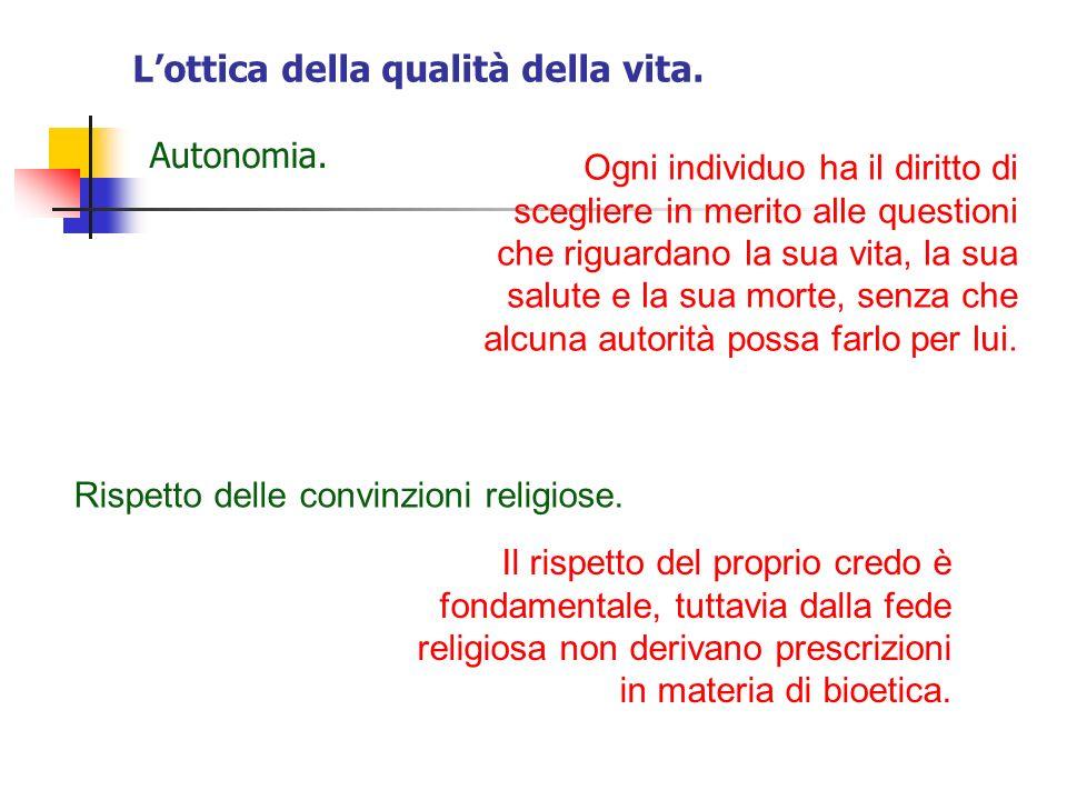 Lottica della qualità della vita.Autonomia.