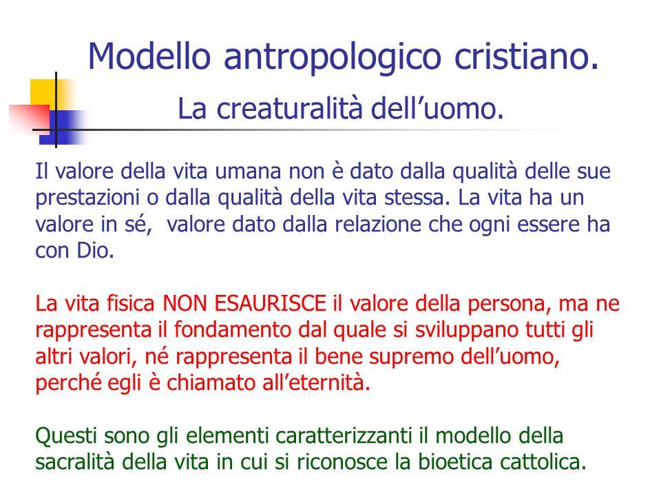 Modello antropologico cristiano.La creaturalità delluomo.