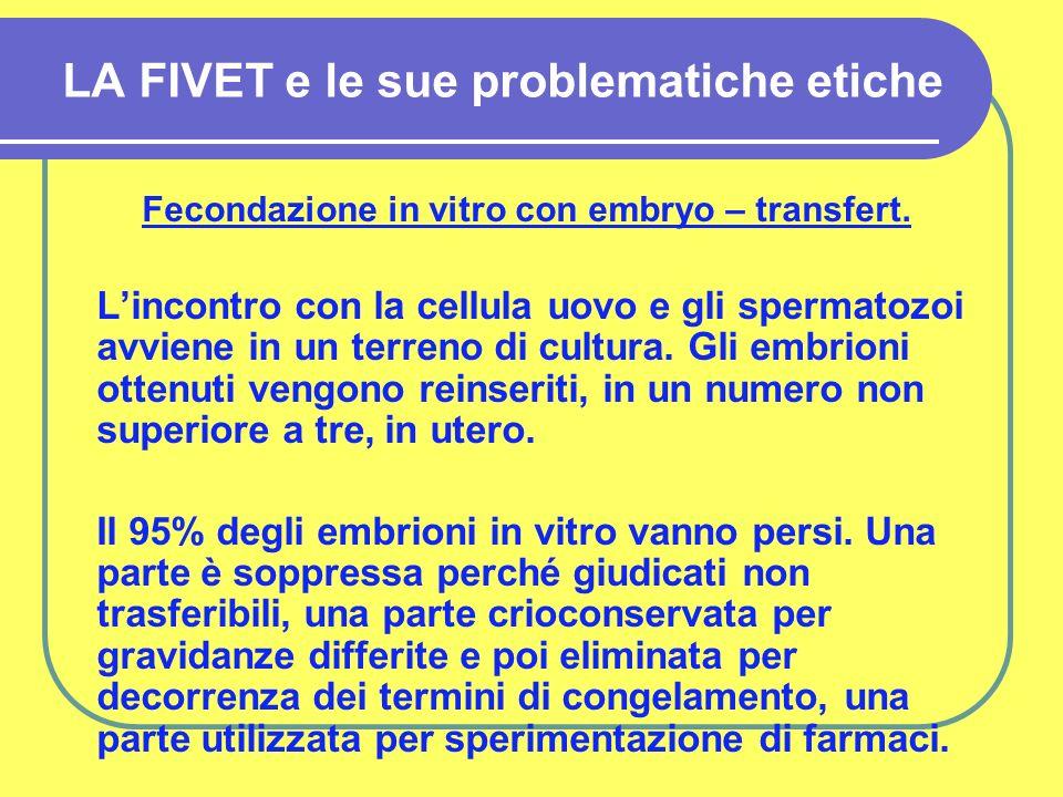 LA FIVET e le sue problematiche etiche Fecondazione in vitro con embryo – transfert.