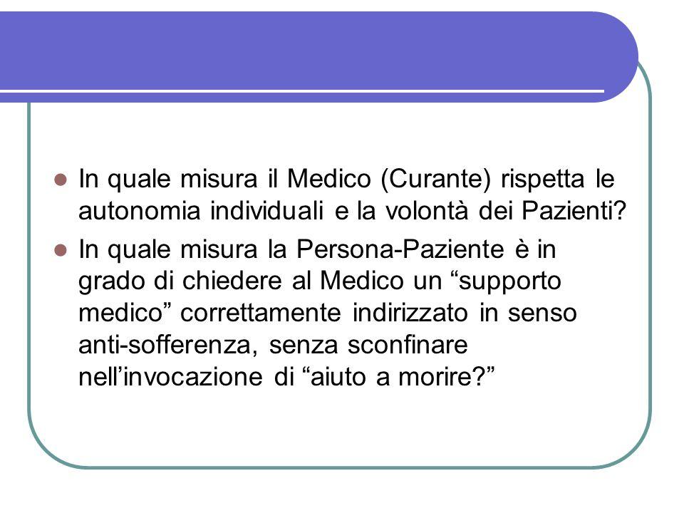 In quale misura il Medico (Curante) rispetta le autonomia individuali e la volontà dei Pazienti.