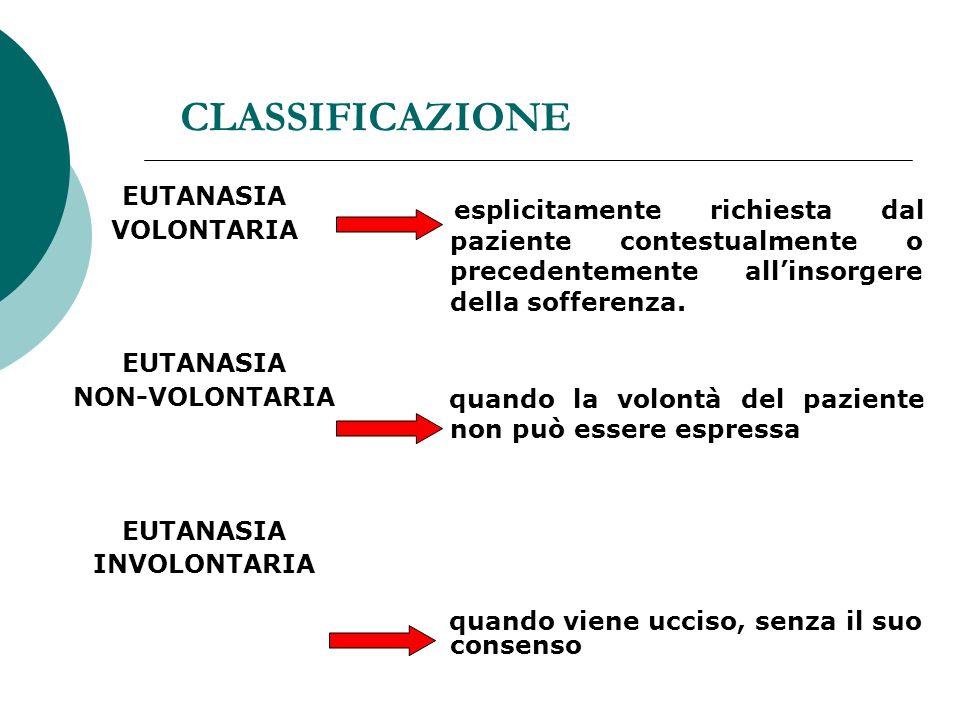 CLASSIFICAZIONE EUTANASIA VOLONTARIA EUTANASIA NON-VOLONTARIA EUTANASIA INVOLONTARIA esplicitamente richiesta dal paziente contestualmente o precedentemente allinsorgere della sofferenza.