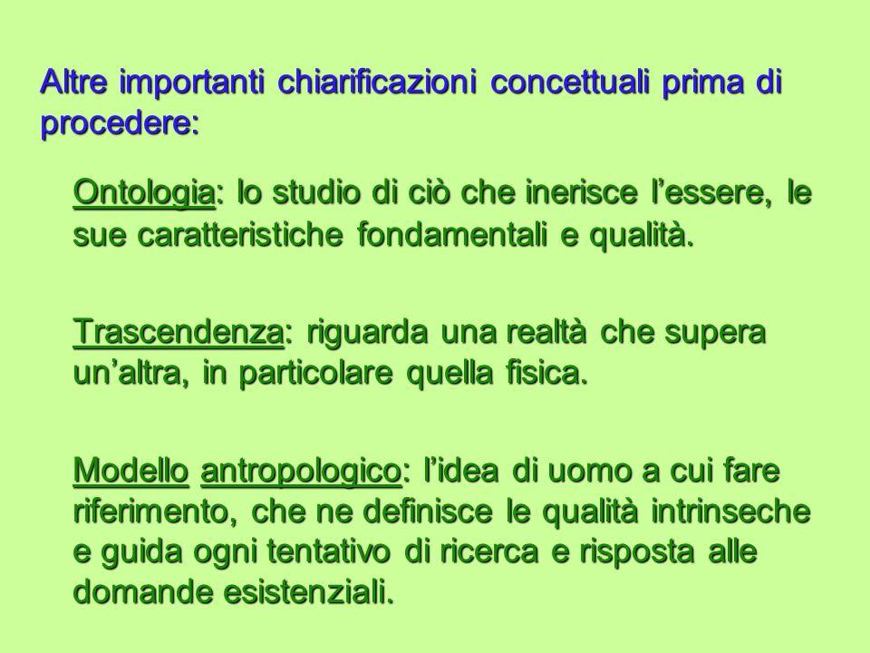 Altre importanti chiarificazioni concettuali prima di procedere: Ontologia: lo studio di ciò che inerisce lessere, le sue caratteristiche fondamentali e qualità.