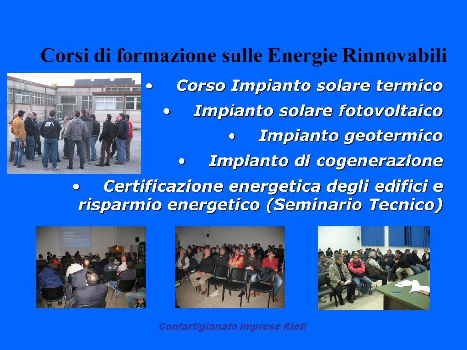 Confartigianato Imprese Rieti Corsi di formazione sulle Energie Rinnovabili Corso Impianto solare termicoCorso Impianto solare termico Impianto solare
