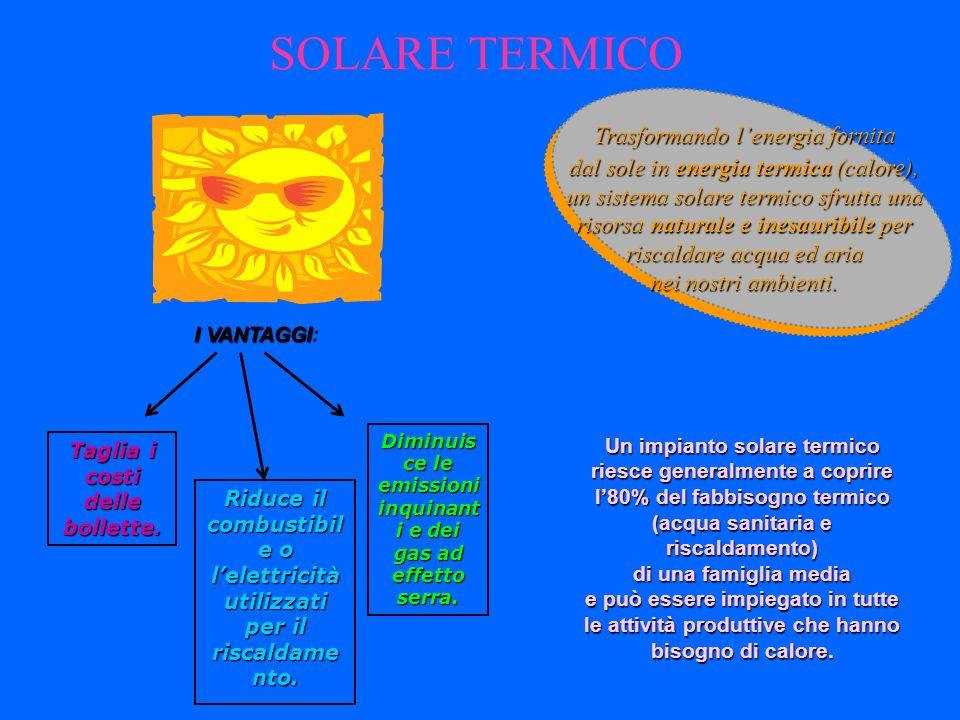 SOLARE TERMICO Un impianto solare termico riesce generalmente a coprire l80% del fabbisogno termico (acqua sanitaria e riscaldamento) di una famiglia