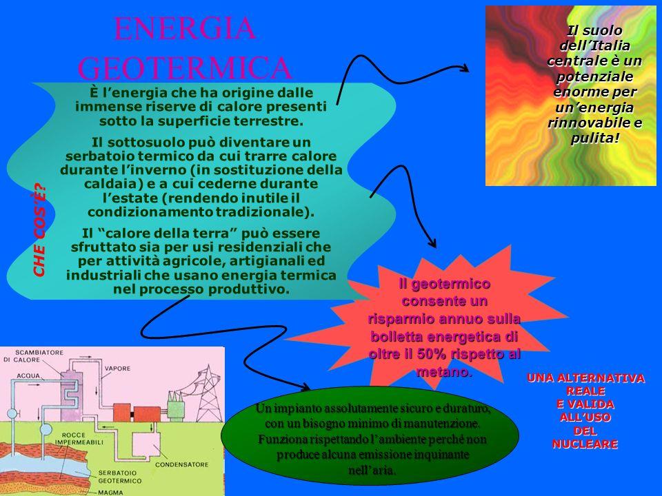 ENERGIA GEOTERMICA UNA ALTERNATIVA REALE E VALIDA ALLUSO DELNUCLEARE Il suolo dellItalia centrale è un potenziale enorme per unenergia rinnovabile e p