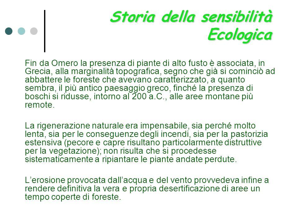 Storia della sensibilità Ecologica Fin da Omero la presenza di piante di alto fusto è associata, in Grecia, alla marginalità topografica, segno che gi