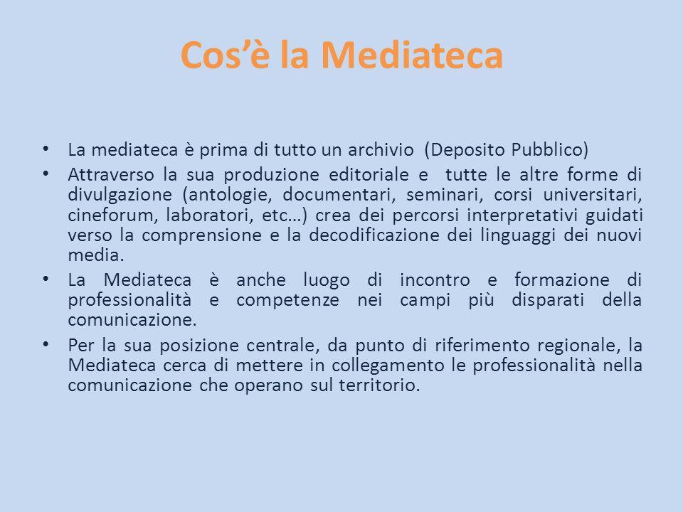Cosè la Mediateca La mediateca è prima di tutto un archivio (Deposito Pubblico) Attraverso la sua produzione editoriale e tutte le altre forme di divu