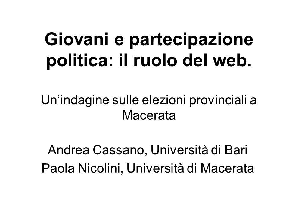 La ricerca è parte di un progetto, mirante ad osservare le forme e le modalità di partecipazione mediate da social network, da parte di elettori esordienti, in vari contesti territoriali.