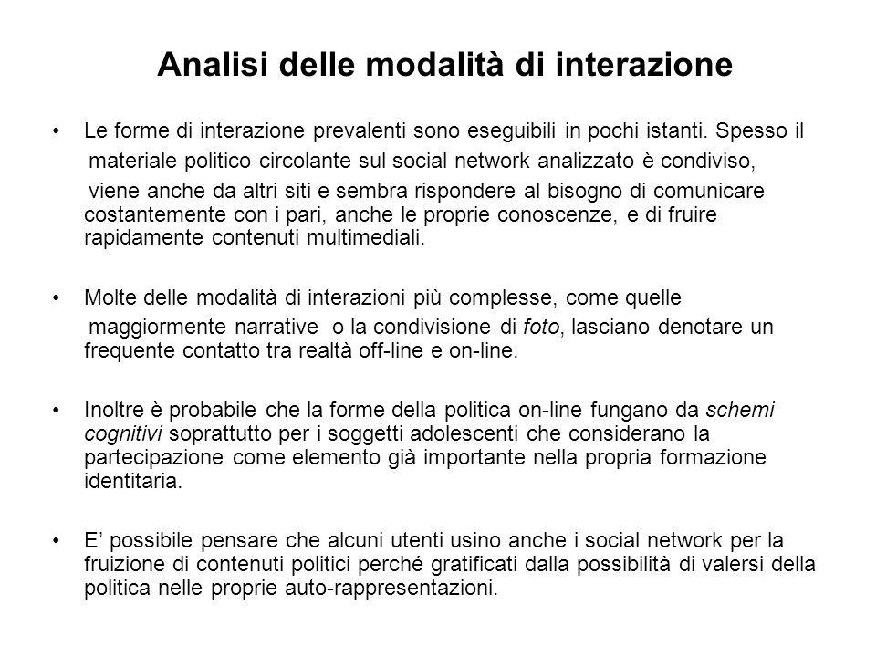 Analisi delle modalità di interazione Le forme di interazione prevalenti sono eseguibili in pochi istanti.