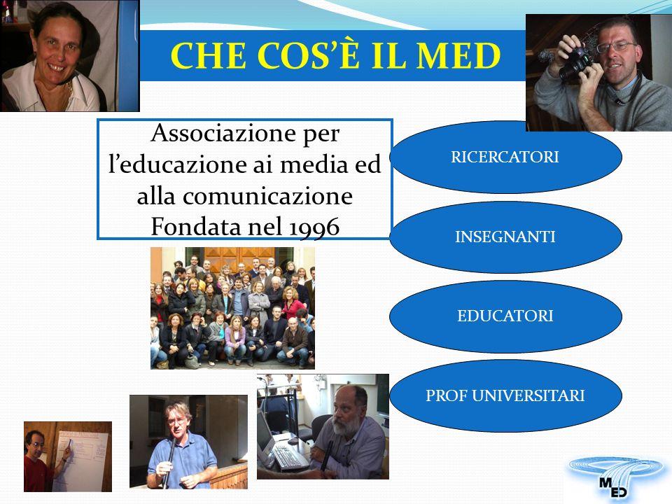 RICERCATORI EDUCATORI PROF UNIVERSITARI INSEGNANTI Associazione per leducazione ai media ed alla comunicazione Fondata nel 1996 CHE COSÈ IL MED