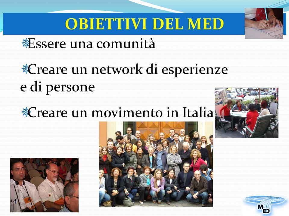 Essere una comunità Creare un network di esperienze e di persone Creare un movimento in Italia OBIETTIVI DEL MED