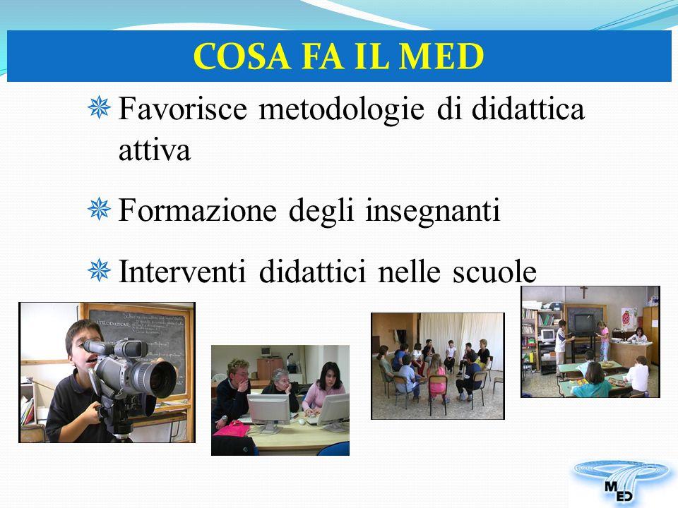 Favorisce metodologie di didattica attiva Formazione degli insegnanti Interventi didattici nelle scuole COSA FA IL MED