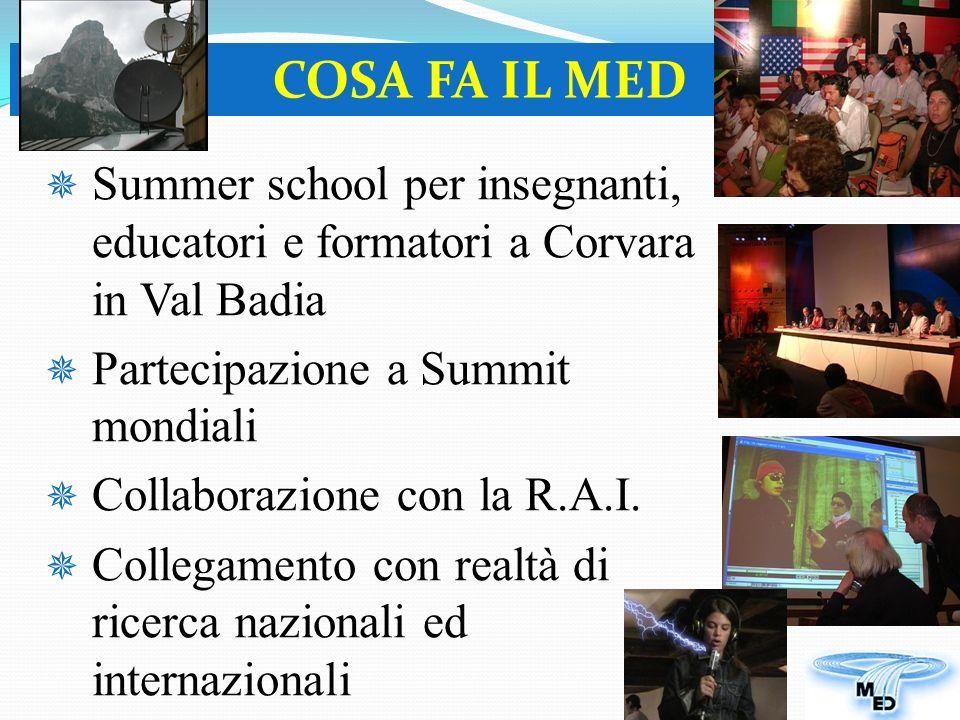 Summer school per insegnanti, educatori e formatori a Corvara in Val Badia Partecipazione a Summit mondiali Collaborazione con la R.A.I.