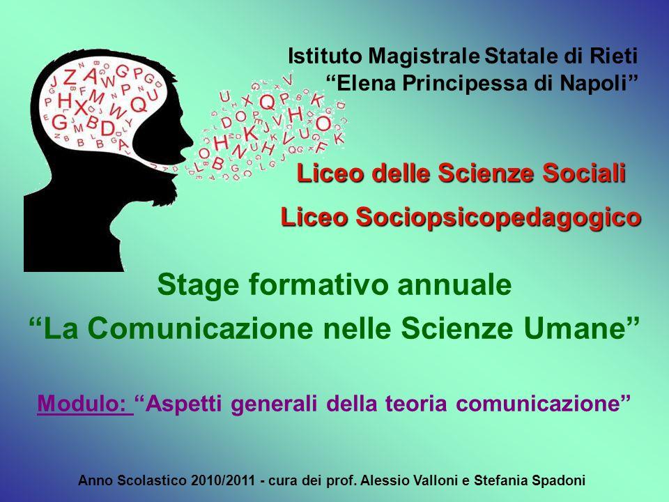 Istituto Magistrale Statale di Rieti Elena Principessa di Napoli Liceo delle Scienze Sociali Liceo Sociopsicopedagogico Anno Scolastico 2010/2011 - cu