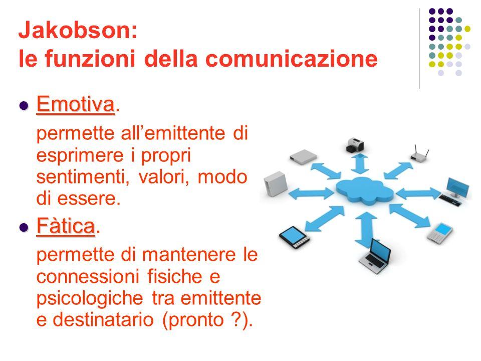 Jakobson: le funzioni della comunicazione Emotiva Emotiva. permette allemittente di esprimere i propri sentimenti, valori, modo di essere. Fàtica Fàti