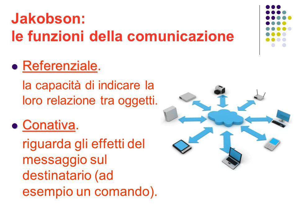 Jakobson: le funzioni della comunicazione Referenziale Referenziale. la capacità di indicare la loro relazione tra oggetti. Conativa Conativa. riguard