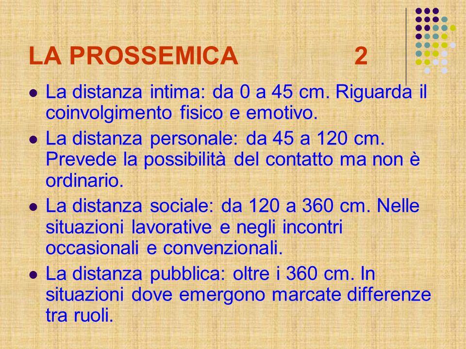 LA PROSSEMICA2 La distanza intima: da 0 a 45 cm. Riguarda il coinvolgimento fisico e emotivo. La distanza personale: da 45 a 120 cm. Prevede la possib