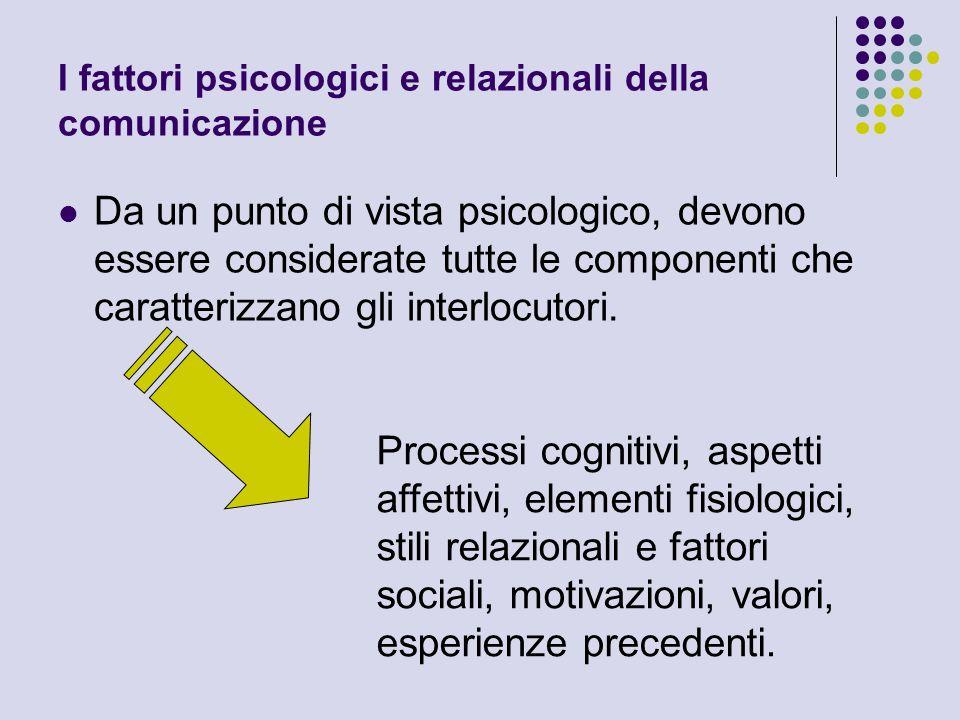 I fattori psicologici e relazionali della comunicazione Da un punto di vista psicologico, devono essere considerate tutte le componenti che caratteriz