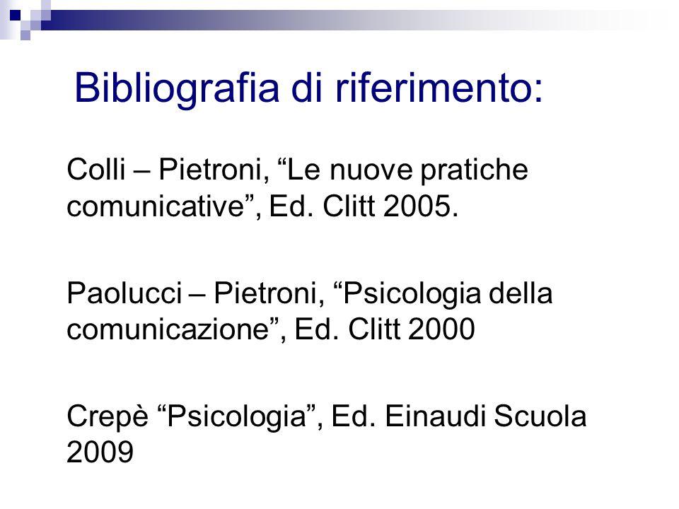 Bibliografia di riferimento: Colli – Pietroni, Le nuove pratiche comunicative, Ed. Clitt 2005. Paolucci – Pietroni, Psicologia della comunicazione, Ed