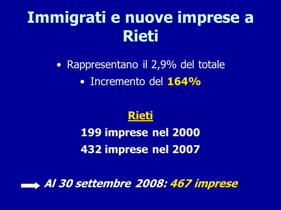 Immigrati e nuove imprese a Rieti Rappresentano il 2,9% del totale Incremento del 164% Rieti 199 imprese nel 2000 432 imprese nel 2007 Al 30 settembre